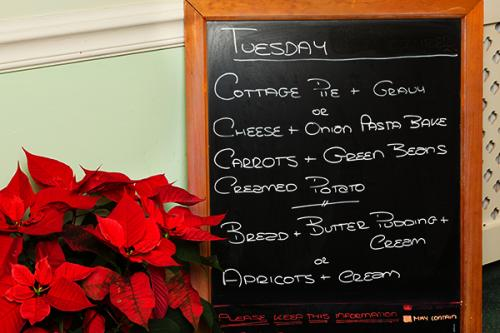 example daily menu on chalkboard